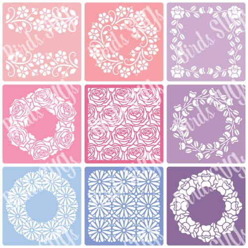 Flowers and Frames Stencils